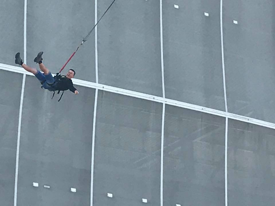 Jump from the stadium on a rope - Wrocław, Poland