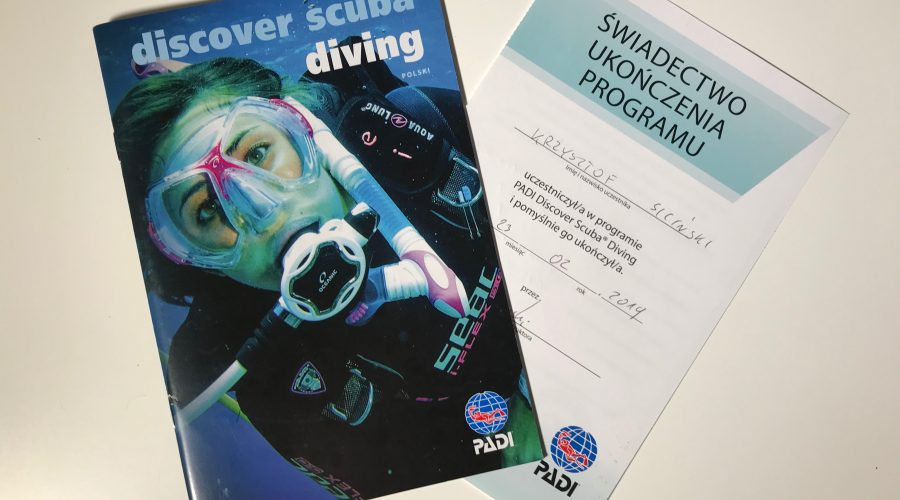 PADI Discover Scuba Diving - certificate end of program